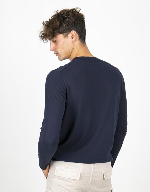 Maglia girocollo cotone blu