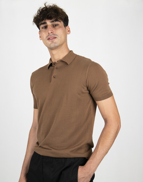 Tobacco color knit polo shirt