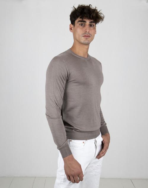 Beige wool and silk lightweight sweater