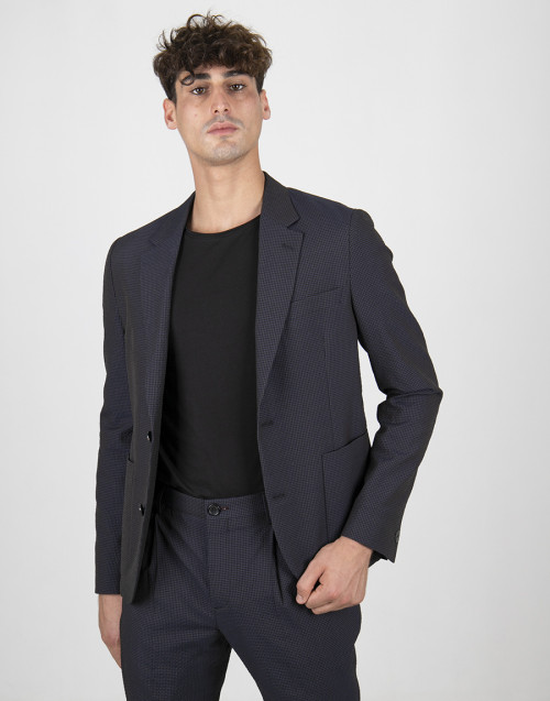 Single-breasted blue micro-check blazer