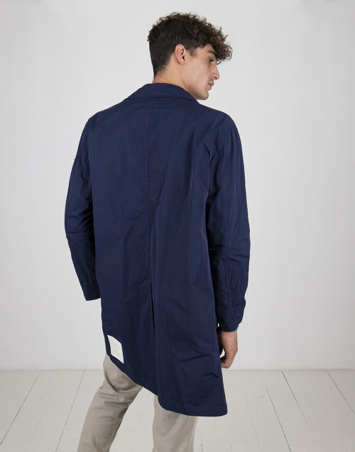 Blue nylon trench coat
