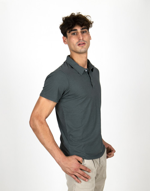 Gray-blue cotton polo shirt