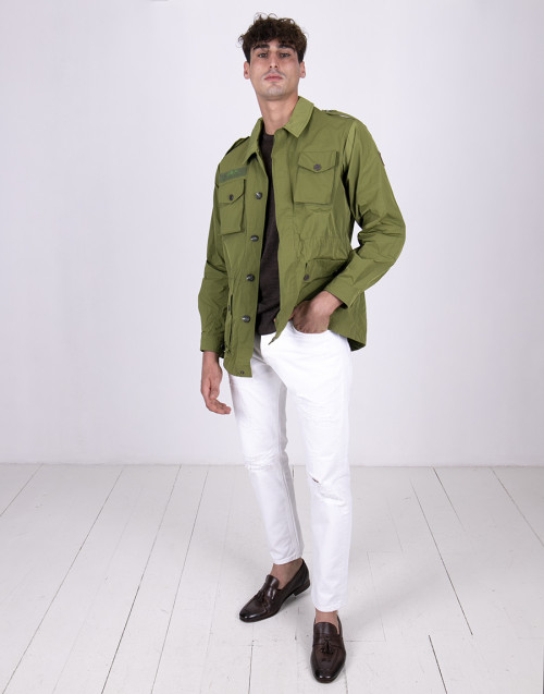 Green nylon field jacket