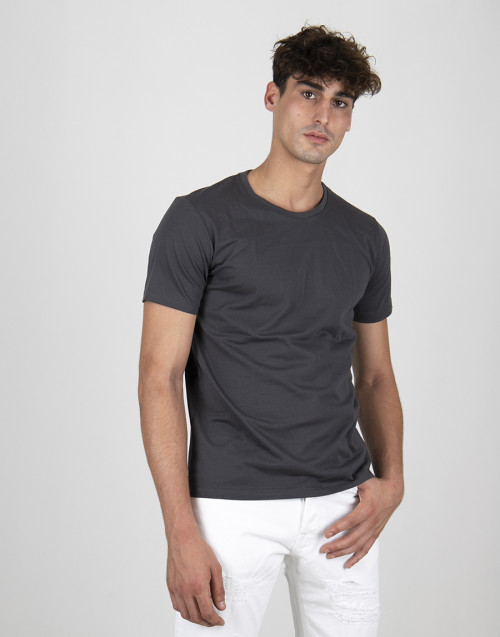 Gray basic cotton t-shirt