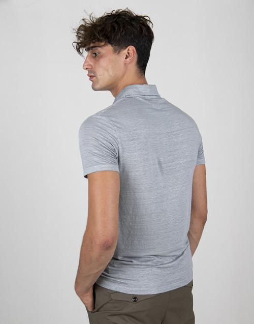 Polo grigio chiaro in lino