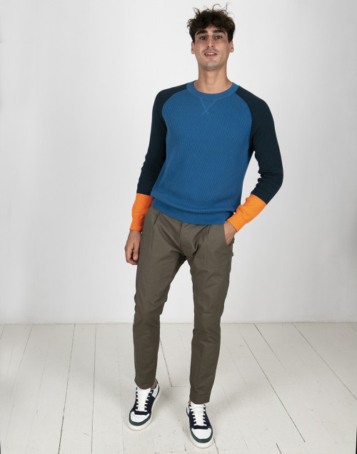 Blue and orange colourblock sweater