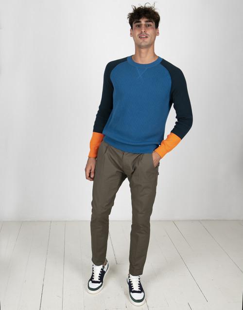 Maglia colorblock blu arancio