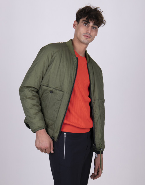 Reversible military green and black bomber jacket