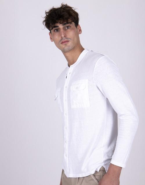 Camicia coreana bianca manica lunga