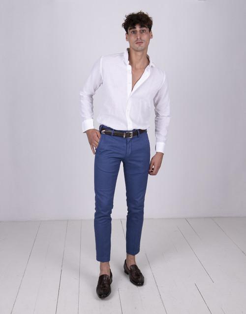 Pantalone blu chiaro in misto lino