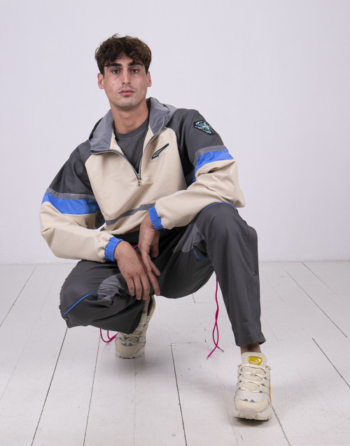 Gray nylon windbreaker by Puma x Rhude