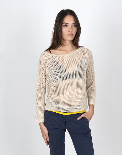 Beige mesh knit