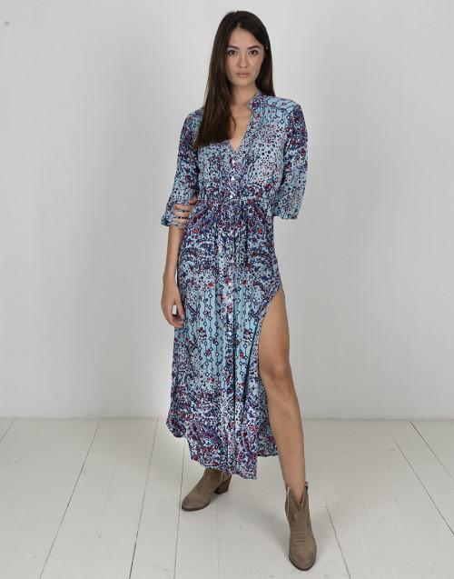 Floral light blue long dress