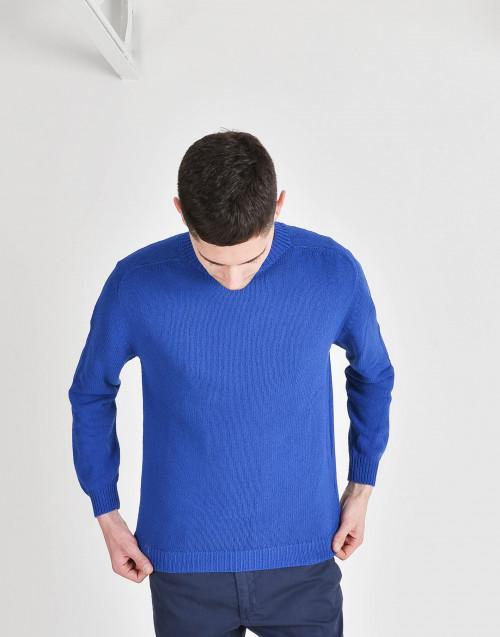 Maglia in cotone blu elettrico