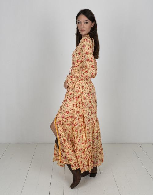 Abito lungo floreale arancio Rita