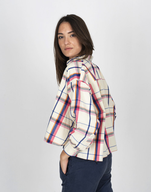 Multicolour tartan cropped shirt