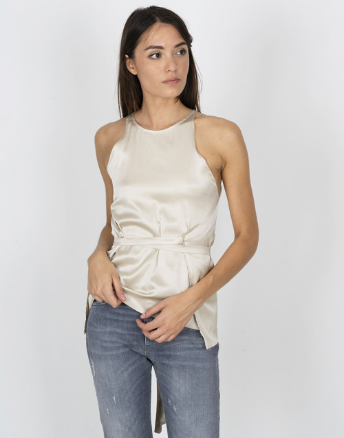 Top beige in raso