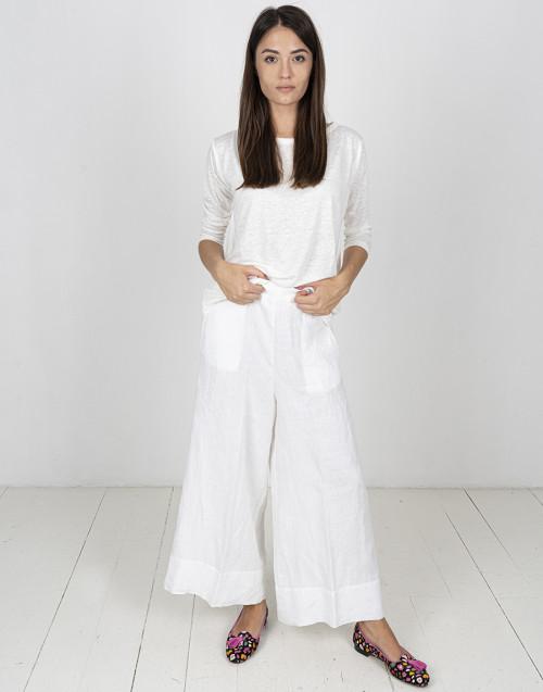 Ivory-coloured linen T-shirt