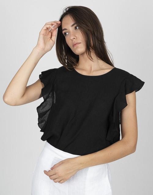 Camicia lino nera
