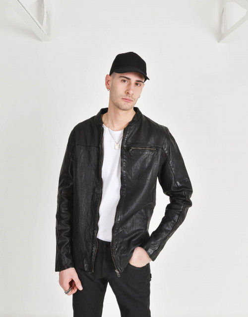 Leather jacket with shirt-type collar