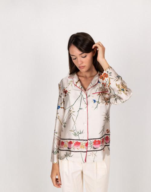Camicia avorio a fiori