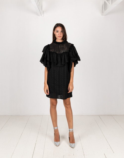 Black sangallo lace dress