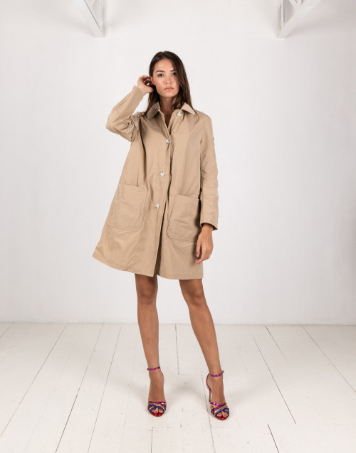 Nylon beige trench coat