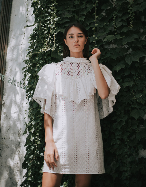 White sangallo lace dress