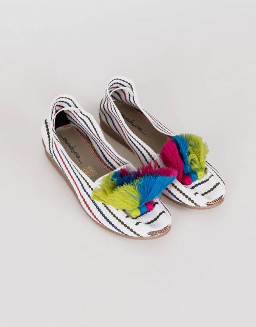 Espadrillas bianca rigata con pon-pon multicolor