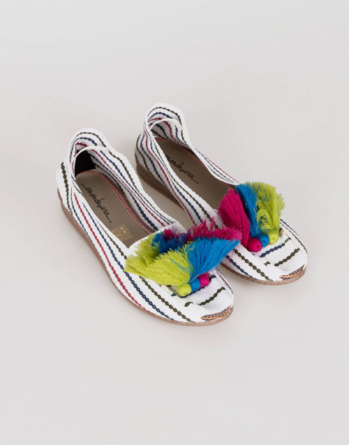 White striped espadrilles w/ multicolor pom-pom