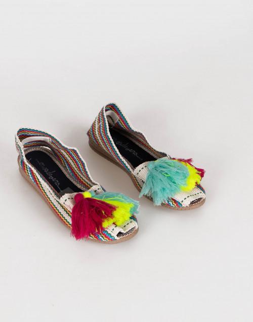Espadrillas arcobaleno con pon-pon multicolor