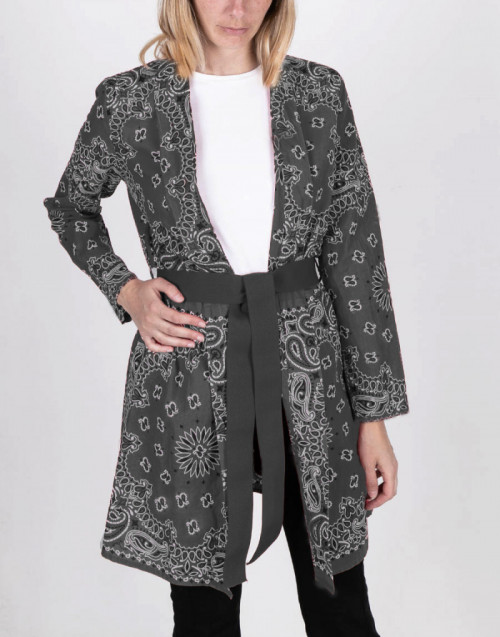 Black bandana print kimono