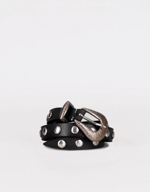 Cintura nera sottile borchia piatta