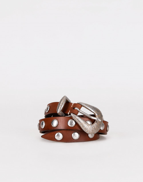Brown thin belt with flat stud