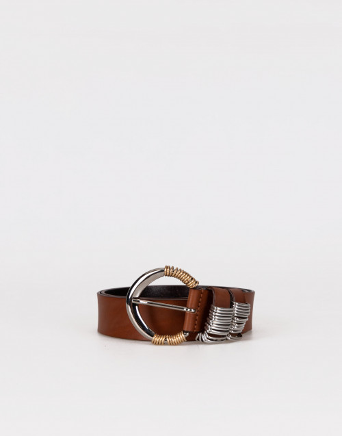 Brown belt with round buckle