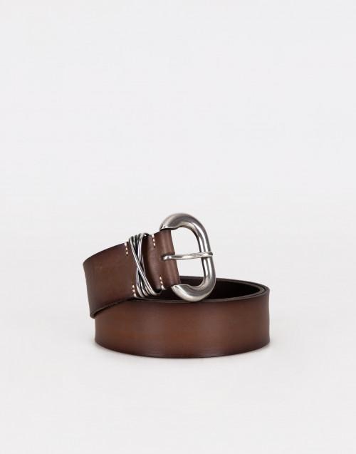 Cintura marrone fibbia tonda