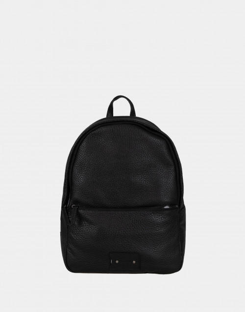 Black grained leather backbag
