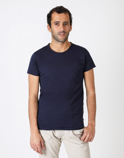 Wide round neck cotton t-shirt