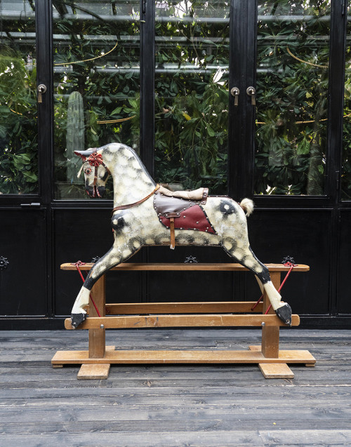 English rocking horse in wood