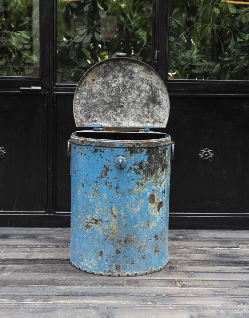 medium bin blue iron