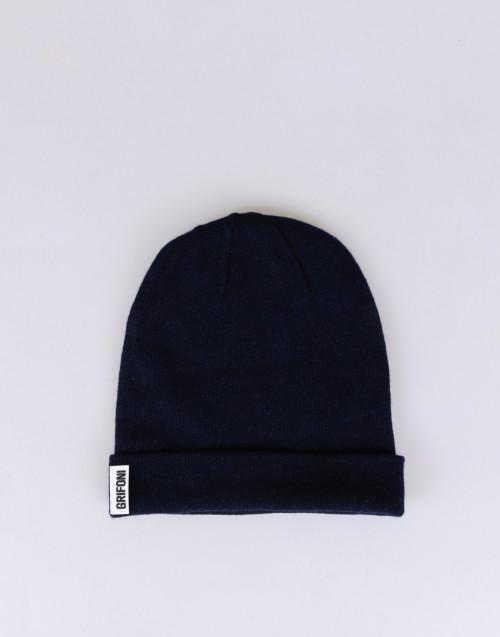 Cuffia blu scuro cashmere
