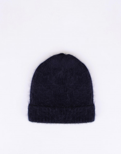 Dark blue raccoon wool beanie