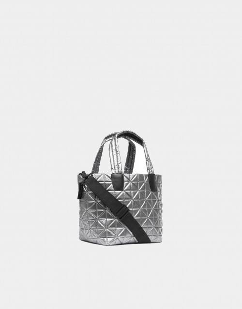 Small platinum metallic nylon bag