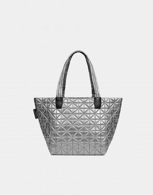 Medium platinum metallic nylon bag