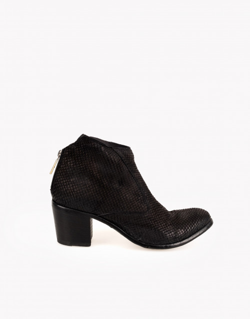 Black python leather ancle boot