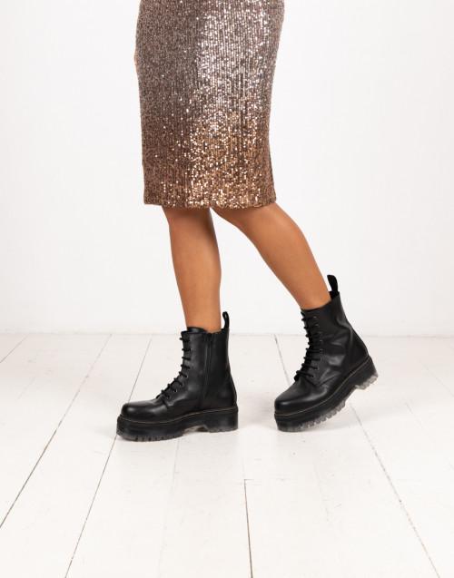 Black combat boot