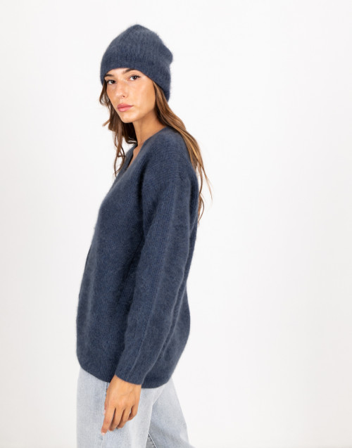 Blue raccoon wool beanie