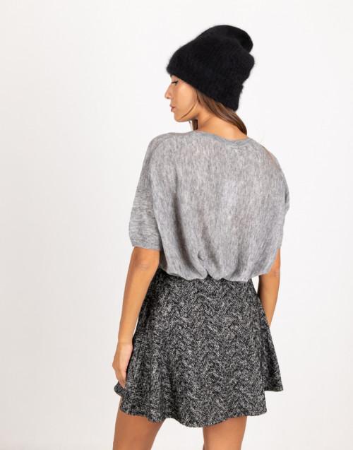 Cuffia nera in lana di procione