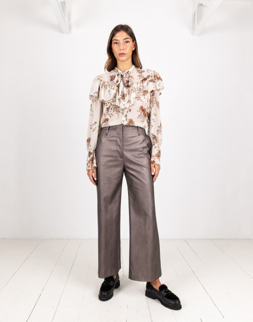 Bronze coloured eco-leather trousers