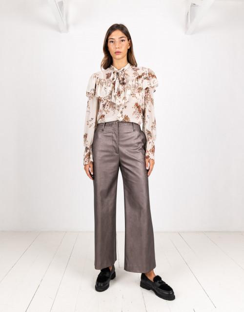 Pantalone ecopelle bronzo